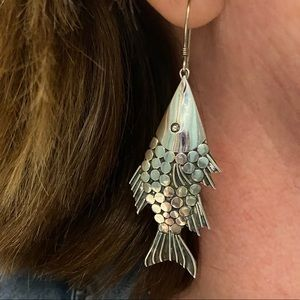 Sterling Silver Artisan Vintage Fish Earrings